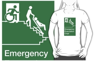Accessible Exit Sign Project Wheelchair Wheelie Man Symbol Means of Egress Icon Disability Emergency Evacuation Fire Safety Chair Adult T-shirt 2