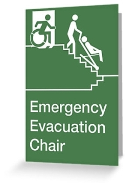 Accessible Exit Sign Project Wheelchair Wheelie Man Symbol Means of Egress Icon Disability Emergency Evacuation Fire Safety Chair Greeting Card 1