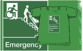 Accessible Exit Sign Project Wheelchair Wheelie Man Symbol Means of Egress Icon Disability Emergency Evacuation Fire Safety Chair Kids Clothing 1