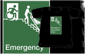 Accessible Exit Sign Project Wheelchair Wheelie Man Symbol Means of Egress Icon Disability Emergency Evacuation Fire Safety Chair Kids Clothing 2