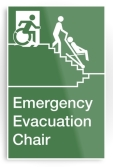 Accessible Exit Sign Project Wheelchair Wheelie Man Symbol Means of Egress Icon Disability Emergency Evacuation Fire Safety Chair Metal Printed 1