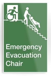 Accessible Exit Sign Project Wheelchair Wheelie Man Symbol Means of Egress Icon Disability Emergency Evacuation Fire Safety Chair Metal Printed 2