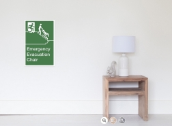 Accessible Exit Sign Project Wheelchair Wheelie Man Symbol Means of Egress Icon Disability Emergency Evacuation Fire Safety Chair Poster 1