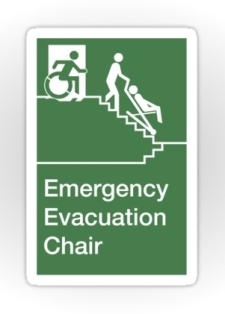 Accessible Exit Sign Project Wheelchair Wheelie Man Symbol Means of Egress Icon Disability Emergency Evacuation Fire Safety Chair Sticker 1