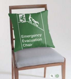 Accessible Exit Sign Project Wheelchair Wheelie Man Symbol Means of Egress Icon Disability Emergency Evacuation Fire Safety Chair Throw Pillow 1