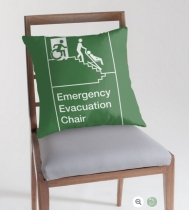 Accessible Exit Sign Project Wheelchair Wheelie Man Symbol Means of Egress Icon Disability Emergency Evacuation Fire Safety Chair Throw Pillow 2