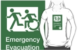 Accessible Exit Sign Project Wheelchair Wheelie Running Man Symbol Means of Egress Icon Disability Emergency Evacuation Fire Safety Lift Elevator Adult T-shirt 1