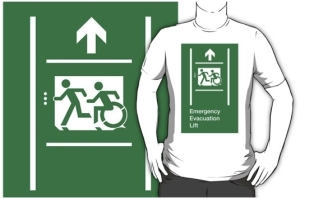 Accessible Exit Sign Project Wheelchair Wheelie Running Man Symbol Means of Egress Icon Disability Emergency Evacuation Fire Safety Lift Elevator Adult T-shirt 10