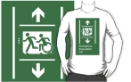 Accessible Exit Sign Project Wheelchair Wheelie Running Man Symbol Means of Egress Icon Disability Emergency Evacuation Fire Safety Lift Elevator Adult T-shirt 12