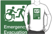 Accessible Exit Sign Project Wheelchair Wheelie Running Man Symbol Means of Egress Icon Disability Emergency Evacuation Fire Safety Lift Elevator Adult T-shirt 2