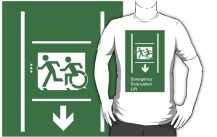 Accessible Exit Sign Project Wheelchair Wheelie Running Man Symbol Means of Egress Icon Disability Emergency Evacuation Fire Safety Lift Elevator Adult T-shirt 3
