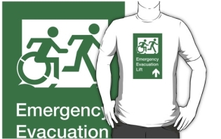 Accessible Exit Sign Project Wheelchair Wheelie Running Man Symbol Means of Egress Icon Disability Emergency Evacuation Fire Safety Lift Elevator Adult T-shirt 4
