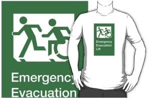 Accessible Exit Sign Project Wheelchair Wheelie Running Man Symbol Means of Egress Icon Disability Emergency Evacuation Fire Safety Lift Elevator Adult T-shirt 6