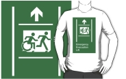 Accessible Exit Sign Project Wheelchair Wheelie Running Man Symbol Means of Egress Icon Disability Emergency Evacuation Fire Safety Lift Elevator Adult T-shirt 7