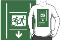 Accessible Exit Sign Project Wheelchair Wheelie Running Man Symbol Means of Egress Icon Disability Emergency Evacuation Fire Safety Lift Elevator Adult T-shirt 8