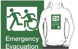 Accessible Exit Sign Project Wheelchair Wheelie Running Man Symbol Means of Egress Icon Disability Emergency Evacuation Fire Safety Lift Elevator Adult T-shirt 9