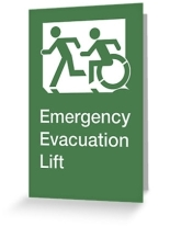 Accessible Exit Sign Project Wheelchair Wheelie Running Man Symbol Means of Egress Icon Disability Emergency Evacuation Fire Safety Lift Elevator Greeting Card 1