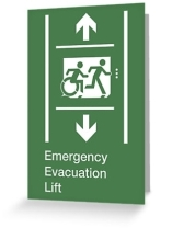 Accessible Exit Sign Project Wheelchair Wheelie Running Man Symbol Means of Egress Icon Disability Emergency Evacuation Fire Safety Lift Elevator Greeting Card 10