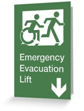 Accessible Exit Sign Project Wheelchair Wheelie Running Man Symbol Means of Egress Icon Disability Emergency Evacuation Fire Safety Lift Elevator Greeting Card 11