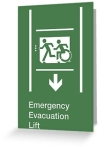 Accessible Exit Sign Project Wheelchair Wheelie Running Man Symbol Means of Egress Icon Disability Emergency Evacuation Fire Safety Lift Elevator Greeting Card 12
