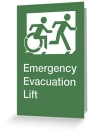 Accessible Exit Sign Project Wheelchair Wheelie Running Man Symbol Means of Egress Icon Disability Emergency Evacuation Fire Safety Lift Elevator Greeting Card 2