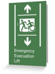 Accessible Exit Sign Project Wheelchair Wheelie Running Man Symbol Means of Egress Icon Disability Emergency Evacuation Fire Safety Lift Elevator Greeting Card 3