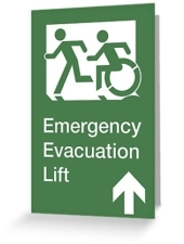 Accessible Exit Sign Project Wheelchair Wheelie Running Man Symbol Means of Egress Icon Disability Emergency Evacuation Fire Safety Lift Elevator Greeting Card 4