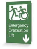 Accessible Exit Sign Project Wheelchair Wheelie Running Man Symbol Means of Egress Icon Disability Emergency Evacuation Fire Safety Lift Elevator Greeting Card 6