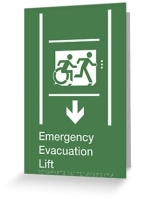 Accessible Exit Sign Project Wheelchair Wheelie Running Man Symbol Means of Egress Icon Disability Emergency Evacuation Fire Safety Lift Elevator Greeting Card 7