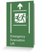 Accessible Exit Sign Project Wheelchair Wheelie Running Man Symbol Means of Egress Icon Disability Emergency Evacuation Fire Safety Lift Elevator Greeting Card 8