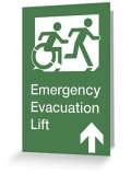Accessible Exit Sign Project Wheelchair Wheelie Running Man Symbol Means of Egress Icon Disability Emergency Evacuation Fire Safety Lift Elevator Greeting Card 9
