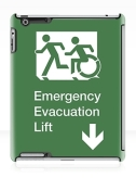 Accessible Exit Sign Project Wheelchair Wheelie Running Man Symbol Means of Egress Icon Disability Emergency Evacuation Fire Safety Lift Elevator iPad Case 1