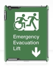 Accessible Exit Sign Project Wheelchair Wheelie Running Man Symbol Means of Egress Icon Disability Emergency Evacuation Fire Safety Lift Elevator iPad Case 10