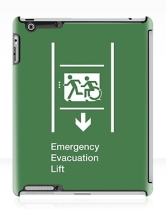 Accessible Exit Sign Project Wheelchair Wheelie Running Man Symbol Means of Egress Icon Disability Emergency Evacuation Fire Safety Lift Elevator iPad Case 11