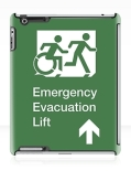 Accessible Exit Sign Project Wheelchair Wheelie Running Man Symbol Means of Egress Icon Disability Emergency Evacuation Fire Safety Lift Elevator iPad Case 12