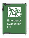 Accessible Exit Sign Project Wheelchair Wheelie Running Man Symbol Means of Egress Icon Disability Emergency Evacuation Fire Safety Lift Elevator iPad Case 3