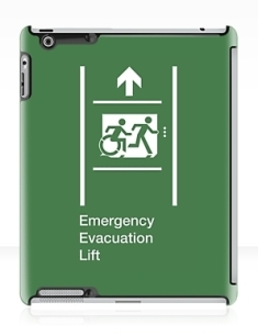 Accessible Exit Sign Project Wheelchair Wheelie Running Man Symbol Means of Egress Icon Disability Emergency Evacuation Fire Safety Lift Elevator iPad Case 4