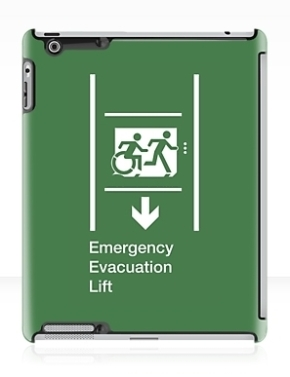 Accessible Exit Sign Project Wheelchair Wheelie Running Man Symbol Means of Egress Icon Disability Emergency Evacuation Fire Safety Lift Elevator iPad Case 5