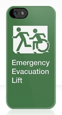 Accessible Exit Sign Project Wheelchair Wheelie Running Man Symbol Means of Egress Icon Disability Emergency Evacuation Fire Safety Lift Elevator iPhone Case 1
