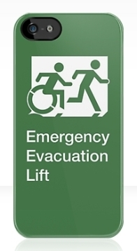 Accessible Exit Sign Project Wheelchair Wheelie Running Man Symbol Means of Egress Icon Disability Emergency Evacuation Fire Safety Lift Elevator iPhone Case 10