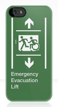 Accessible Exit Sign Project Wheelchair Wheelie Running Man Symbol Means of Egress Icon Disability Emergency Evacuation Fire Safety Lift Elevator iPhone Case 11