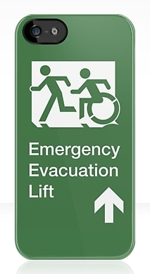 Accessible Exit Sign Project Wheelchair Wheelie Running Man Symbol Means of Egress Icon Disability Emergency Evacuation Fire Safety Lift Elevator iPhone Case 12