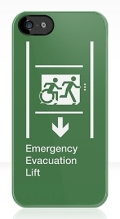 Accessible Exit Sign Project Wheelchair Wheelie Running Man Symbol Means of Egress Icon Disability Emergency Evacuation Fire Safety Lift Elevator iPhone Case 4
