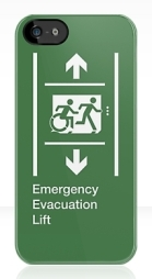 Accessible Exit Sign Project Wheelchair Wheelie Running Man Symbol Means of Egress Icon Disability Emergency Evacuation Fire Safety Lift Elevator iPhone Case 7