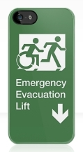 Accessible Exit Sign Project Wheelchair Wheelie Running Man Symbol Means of Egress Icon Disability Emergency Evacuation Fire Safety Lift Elevator iPhone Case 8