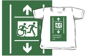 Accessible Exit Sign Project Wheelchair Wheelie Running Man Symbol Means of Egress Icon Disability Emergency Evacuation Fire Safety Lift Elevator Kids T-shirt 1