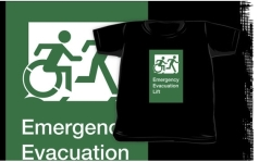 Accessible Exit Sign Project Wheelchair Wheelie Running Man Symbol Means of Egress Icon Disability Emergency Evacuation Fire Safety Lift Elevator Kids T-shirt 10