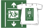 Accessible Exit Sign Project Wheelchair Wheelie Running Man Symbol Means of Egress Icon Disability Emergency Evacuation Fire Safety Lift Elevator Kids T-shirt 11