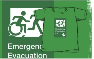 Accessible Exit Sign Project Wheelchair Wheelie Running Man Symbol Means of Egress Icon Disability Emergency Evacuation Fire Safety Lift Elevator Kids T-shirt 12