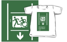 Accessible Exit Sign Project Wheelchair Wheelie Running Man Symbol Means of Egress Icon Disability Emergency Evacuation Fire Safety Lift Elevator Kids T-shirt 2